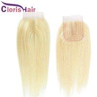 # 613 Fermeture blonde Soie droite Vierge Brésilienne Cheveux humains Suisse Dentelle 4x4 Pièce centrale à moitié égalité à la main Platinum Blond Top fermeture naturelle