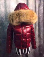 Women 100% Big Real Raccoon Fur Hooded Down Coat Thick Warm Short Slim Jacket Waterproof Parkas Black Red