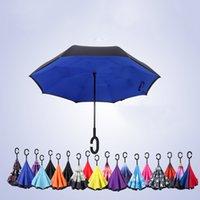 Folding Design Double Layer Inverted Umbrella Self Stand Rain Reverse Car Umbrellas Parasol Windproof Raining Drop Commission LOGO ZXFTL0740