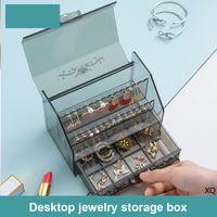 Acryl Schmuck Kosmetik Aufbewahrungsbox Multifunktions-Make-up-Organizer staubfestes klares Schmuckkosmetik-Lippenstift-Sammelfall