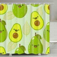 Avocado Duschvorhang 180 * 180cm Sommer Avocado Gedruckt Erwachsene Badezimmer Duschvorhang Niedlichen Cartoon Avocados Badezimmer Dekor FWD5244