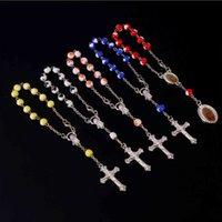 listing 8mm religious love beads cross Catholic rosary children baptism bracelet handmade beaded bracel