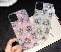 Diamond Love Heart Weiche TPU-Hüllen für iPhone 11 pro xs Max XR x 7 8 Plus Mode Bling Shinny Folie Shell Handy Zurück Hautabdeckung