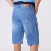 Pantalones cortos para hombres Talla grande 44 46 48 50 52 Luz azul de mezclilla Moda de moda Casual suelto Stretch Short Jeans Short Marca masculina