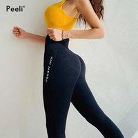 Peeli Tummy Control Yoga Pantaloni Pantaloni da donna Leggings senza soluzione di continuità Fitness Gym Tights Push up Leggings Sport Vita Alta Allenamento Abbigliamento Sportswear 210929