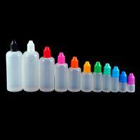 E-Liquid Garrafa de óleo vazio garrafas de gotas de plástico 3ml 5ml 10ml 15ml 20ml 30ml 50ml 100ml 120ml com tampa de criança por atacado 2021