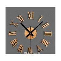 Vintage Wood Texture 3D Roman Numéral Horloge, Montre-murage de la décoration de la maison, Sticker Wood Decor Jllhyk SOIF