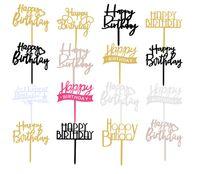 الاكريليك عيد سعيد بريق كعكة كعكة كيك كيك كيك كب كيك الحلوى إدراج ديكور حزب اللوازم المنزلية