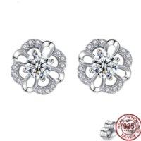 Stud 925 Sterling Silver Eternal Flower Needle Earrings Women's Style Temperament Diamonds Small Fresh Hollow Gift