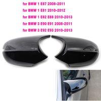 Cubiertas de espejo retrovisor para BMW E81 E82 E87 2008 +, 116i 118i 120i E88 E90 E91 2008-2011, 320i 330i 330d Fibra de carbono Gloss Black
