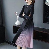 Moda coreano suéter vestido mujeres suéteres de punto vestidos plisados mujer vestido más tamaño mujer suéteres gruesos vestidos elegantes