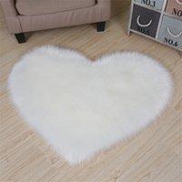Imitación Sheepskin Modeling Heart Alfombra Sala de estar Habitación Dormitorio Pull Alfombra Lindo Color de Corte Corazón Decoración de la boda