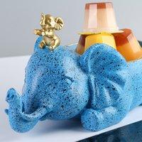 Estatuilla Elefante Teléfono Soporte Estatua Resina Artesanía Caramelo Snack Jar Oficina Adornos Linda Imagen de dibujos animados para el hogar u oficina
