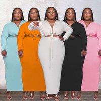 ZJFZML ZZ Femmes Vêtements Robes De Vêtements Plus Taille Drapé Cordon Drapa Skrouillage à manches longues V-Col Party Clubwear Wrap Robe Dropshipping Wholesale
