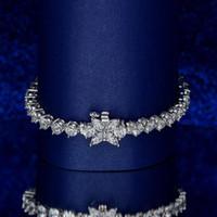 HBP Mode Vier Blatt Kleeer Silber Handstück Frauen Super Flash Einzelne Reihe Luxus Voll Diamant Zirkon Vielseitiges Armband Schmuck