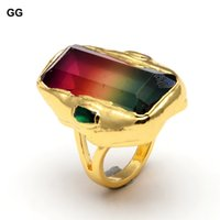 Rectángulo de arco iris de múltiples colores Rectángulo Zirconia Dedo de oro Anillos chapados en color Regalo de citas Joyas de mujer ajustable para mujeres