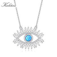 Kaletine New Luck Evil Eye Ожерелье AAA Cubic Zirconia 925 Стерлинговые Серебряные Бирюзы Камень Мода Классический Глаз Турции Ювелирные Изделия Q0127