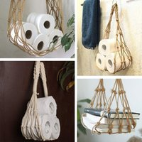2021 new Storage Bags Nordic Wall Hanging Cotton Rope Bag Home Living Room Roll Paper Magazine Books Holder Space-Saving