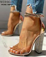 الصيف النساء عالية الكعب أحذية ر المرحلة الصنادل الشفافة مثير مضخة الإناث غطاء كعب حفل زفاف السيدات zapatos دي موهير W7KY #