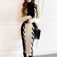Casual Dresses Women's sweater, long sleeve, dress in turtlenecks, shreds, torsion, , thick, knitted or crocheted, women's fashion, bodycon TF89