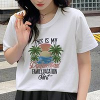 Women's T-Shirt 2021 Summer Woman Tshirts Streetwear Cute Top Clothes Women Short Sleeve O-neck Funny Print Sunset At Sea Goth Graphic T Shi