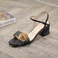 Größe 35-42 Leder Mid-Heel Sandale Italien Mode Wome Sandalen Ferse Höhe 5cm Klassische Frau Sommersandalen