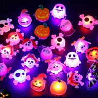 Halloween Party Favor LED Light Up Ring for Kids Adults Flash Finger Rings Birthday Blinking Soft Toy Rubber Ghost Pumpkin Skeleton 4767 Q2