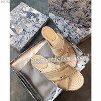Dior slippers باريس أزياء بيع الربيع والخريف البوهيمي النعال النساء شقة أسفل سحب الصنادل الشاطئ الصيف
