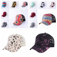 Sunflower Baseball Casquette Poneytail Mesh Criss Cross Hallow Out Chapeau de baseball High Messy Buns Buns Trucker Ponycaps Party Hats 14styles RRA4196