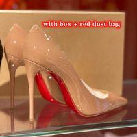 2021 Chaussures de fond rouge Mode talons hauts pour femmes Party Mariage Triple Noir Noir Nu Jaune Jaune Pink Spikes Pointes pointues Tabes Pompes Robe Chaussure
