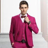 Men's Suits & Blazers Arrival Groomsmen Notch Lapel Groom Tuxedos Pink Men Wedding Man Blazer (Jacket+Pants+Vest+Tie)