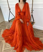 2021 Sexy Deep V Neck Illusion Orange Tulle Prom Dresses A Line Empire Puffy Long Sleeves Ruched Evening Party Gowns With Zipper Back Sheer Skirts Sweep Train Plus Size