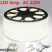 Tiras AC220V LED Light 3014 120led / M Fita ip65 impermeável com plug de energia1m3m5m50m100m fita de corda branca lâmpada azul