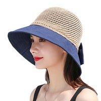 Wide Brim Hats Women Mesh Sun Visor Bowknot Sunscreen Bucket Cap Beach Pool Floppy Dress Casual Vintage Cooling Straw Hat
