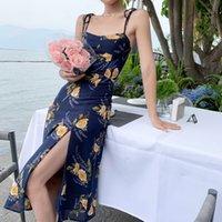 French Style Vintage Summer Floral Strap Dress Women's Sexy Lace-Up Side Split Midi Dress Female Vestidos