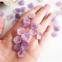 5pc snidad riktig stenblomma naturlig kvarts lösa pärlor lila kristallpärla tillbehör för smycken som gör DIY-fynd DYL0037