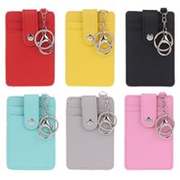 Card Holders THINKTHENDO 6 Color Portable ID Holder Bus Cards Cover Case Office Work Keychain Keyring Tool Unisex