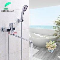 Shbshaimy Chrome 395mm lunghezza beccuccio vasca da bagno rubinetto a parete montato a parete impugnatura single beccuccio facuciale caldo miscelatore freddo
