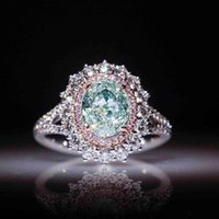 Wedding Rings Engagement For Women Silver Female Anel Austrian Greeen Crystals Jewelry Drop Gift
