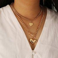 Pendant Necklaces French Retro Baroque Fashion Stitching Peach Heart Love Titanium Steel Temperament Light Luxury Niche Clavicle Chain Design Neck Jewelry Gift