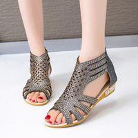 Sandali classici Sandali Sandali Gladiatore Moda Donna Hollow Out Scarpe Summer Femmina Slip Slip on Flats Wowan Peep Toe Footwear 2020 Q9dh #
