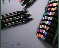 Toque Marcador de doble cabeza Multicolor Estudiante Diseño de interiores Paisaje Anime Painting Acuarela Pluma Spot 80 Color Art Marker Sketch Alacoh