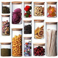 Стеклянные банки с натуральными бамбуковыми крышками для домашнего кухня чай, мука, печенье, конфеты специи - малые продукты питания воздухонепроницаемая канистра наборы кладовой