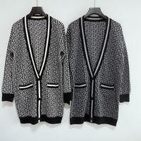 Winter Maxi Cardigan Fende Women Sweater Wool Blended Blouse Women Knitwear Ladies Knitted Top Casual Coat V Neck Cardigan F WordingGAGA
