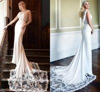 Mermaid Wedding Dresses 2021 Elegant Lace Appliques Long Court Train Slim Fit Cap Sleeves Bridal Gowns Satin Simple robes de mariée Boho Garden Beach Vestidos AL9598