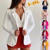 Women jacket Autumn Thin Blazers Office Lapel Long Sleeve Coat Suit Single Button Blazer Jackets