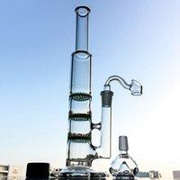 Gerade Röhrchen Wasserhaarige Glas Bong Triple Bonecomb Perc Öl DAB Rigs Grün Blau Klarfarbener Perkolator Wasserleitungen 14mm Gelenk mit Banger Bowl