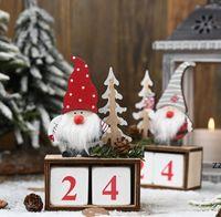 Christmas Desktop Ornament Santa Claus Gnome Wooden Calendar Advent Countdown Decoration Home Tabletop Decor by sea HWB10576