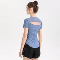 Bayan Yoga Gömlek T-shirt Kadınlar Için Tişörtleri Tasarımcı Kadın Lu T Gömlek Kıyafet Nefes Örgü Spor Spor Dantel Koşu Spor Salonu T-Shirt Seksi Iç Çamaşırı Katı Renk 14EV #