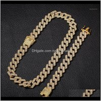 Uwin 20Mm Hip Hop Cuban Necklaces Full Iced Out Rhinestones Necklace Bracelet Set Fashion Jewelry Wholesale1 Qghqt Abope